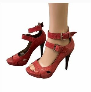 Red sandals high heels like new
